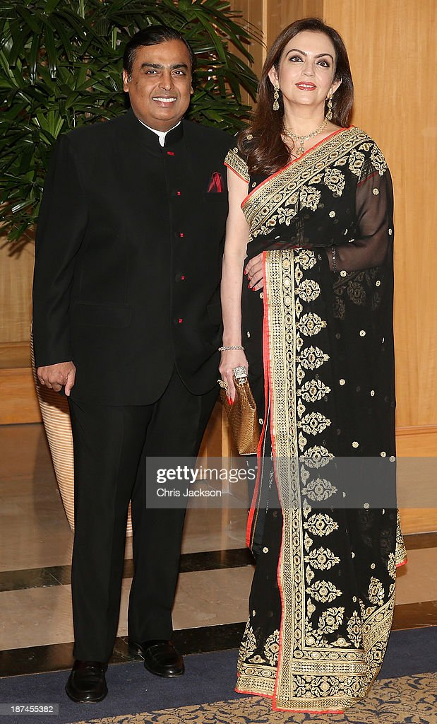 <a gi-track='captionPersonalityLinkClicked' href=/galleries/search?phrase=Nita+Ambani&family=editorial&specificpeople=2296479 ng-click='$event.stopPropagation()'>Nita Ambani</a> and <a gi-track='captionPersonalityLinkClicked' href=/galleries/search?phrase=Mukesh+Ambani&family=editorial&specificpeople=552252 ng-click='$event.stopPropagation()'>Mukesh Ambani</a> at the British Asian Trust Reception on day 4 of an official visit to India on November 9, 2013 in Mumbai, India. This will be the Royal couple's third official visit to India together and their most extensive yet, which will see them spending nine days in India and afterwards visiting Sri Lanka in order to attend the 2013 Commonwealth Heads of Government Meeting.