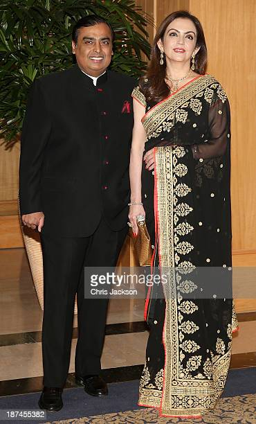 Nita Ambani and Mukesh Ambani at the British Asian Trust Reception on day 4 of an official visit to India on November 9 2013 in Mumbai India This...