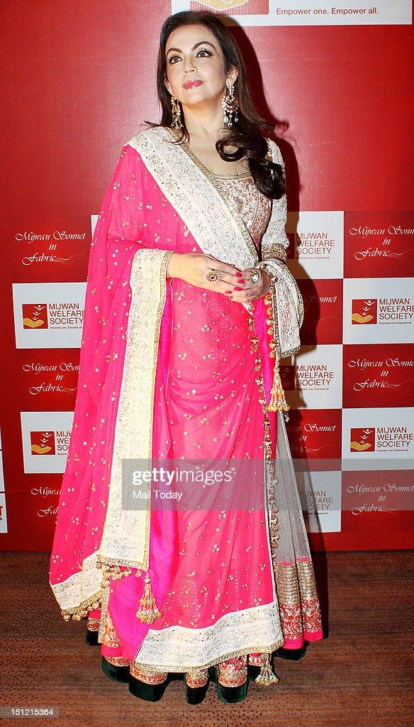 Nita Ambani during Shabana Azmi's charity fundraising fashion show Mijwan at Grand Hyatt in Mumbai on September 3, 2012.