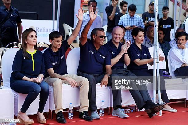 Nita Ambani Founder Chairman of Reliance Foundation Vivek Ranadive Owner Sacramento Kings Raj Bhathal and Chris Granger during the Reliance...
