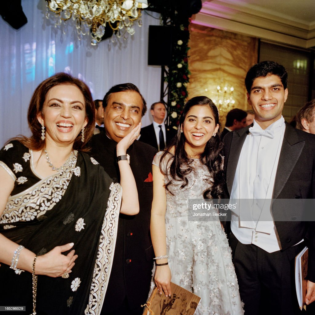 Nita, Mukesh and Isha Ambani with Anchit Nayar are photographed at the Crillon Debutante Ball for Vanity Fair Magazine on November 22, 2012 in Paris, France. PUBLISHED