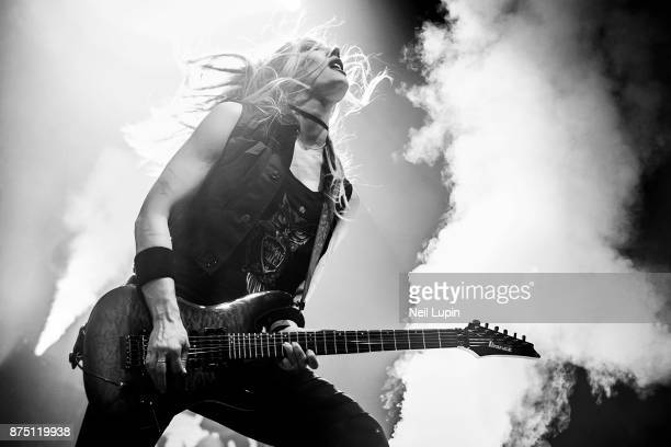 Nita Strauss performs with Alice Cooper at Wembley Arena on November 16 2017 in London England