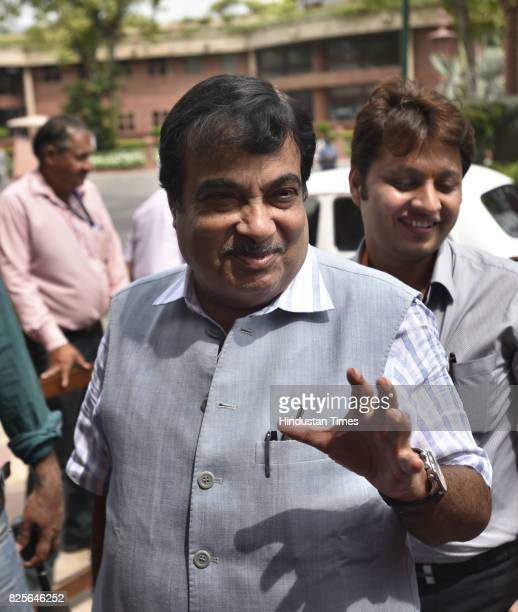Nitin Gadkari BJP leader and union minister arrives at Parliament House during the Monsoon Session on August 2 2017 in New Delhi India
