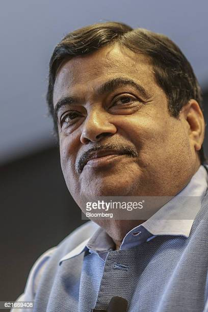 Nitin Gadkari India's road and transport minister pauses during The Bloomberg Address in Mumbai India on Monday Nov 7 2016 India's plan to sustain...