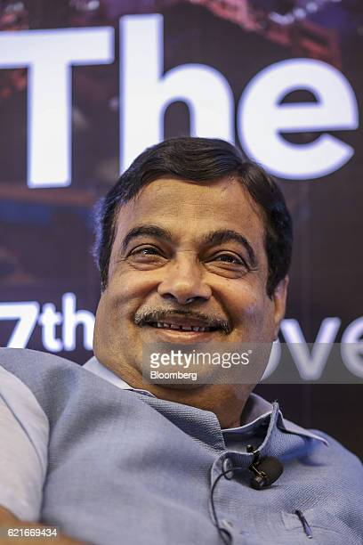 Nitin Gadkari India's road and transport minister reacts during The Bloomberg Address in Mumbai India on Monday Nov 7 2016 India's plan to sustain...