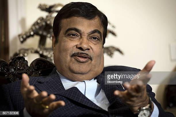 Nitin Gadkari India's road and transport minister speaks during an interview in New Delhi India on Tuesday Jan 26 2016 Gadkari is seeking as much as...