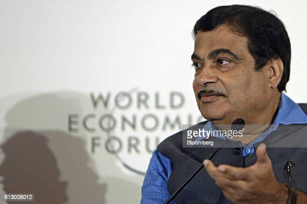 Nitin Gadkari India's road and transport minister speaks during the World Economic Forum India Economic Summit in New Delhi India on Thursday Oct 6...