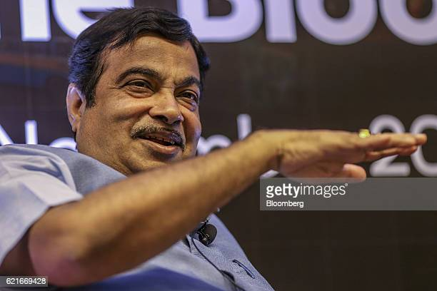 Nitin Gadkari India's road and transport minister speaks during The Bloomberg Address in Mumbai India on Monday Nov 7 2016 India's plan to sustain...