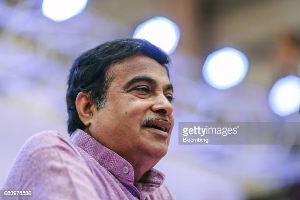 Nitin Gadkari India's road and transport minister speaks during the inauguration of a conveyor at a warehouse operated by Future Supply Chain...