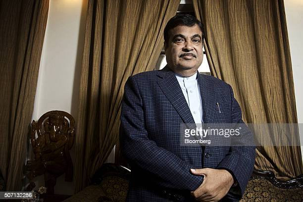 Nitin Gadkari India's road and transport minister stands for a photograph during an interview in New Delhi India on Tuesday Jan 26 2016 Gadkari is...
