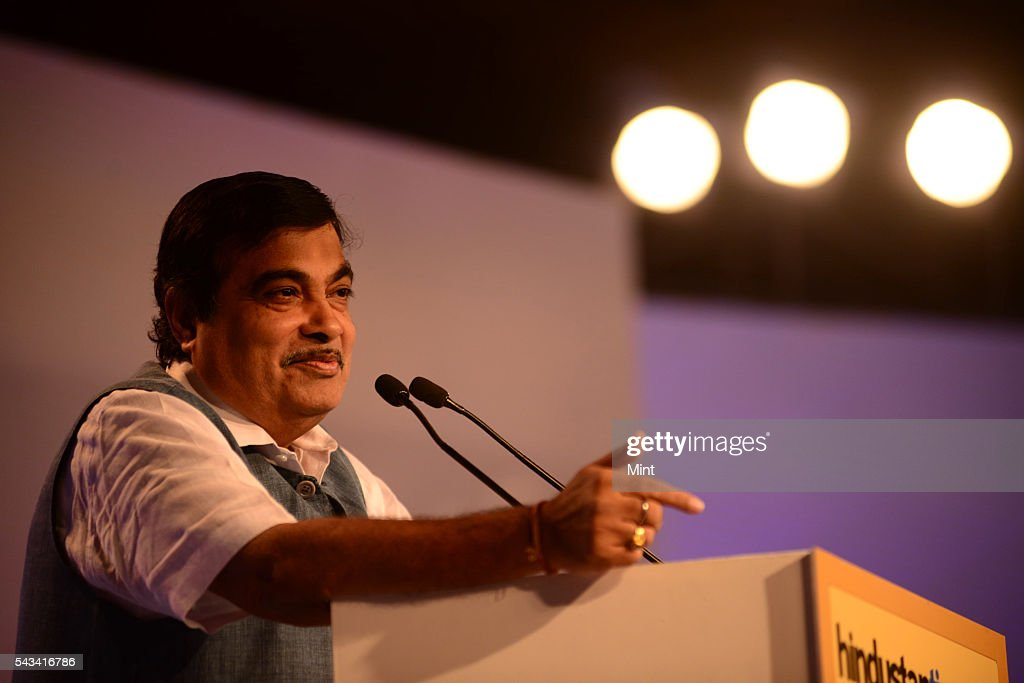 Nitin Gadkari - Minister of Road Transport, Highways and Shipping speaking at HT leadership Summit on November 21, 2014 in New Delhi, India.