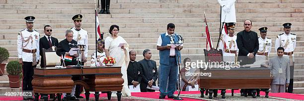 Nitin Gadkari new cabinet minister of India speaks during the swearing in ceremony for Narendra Modi India's new prime minister and other members of...