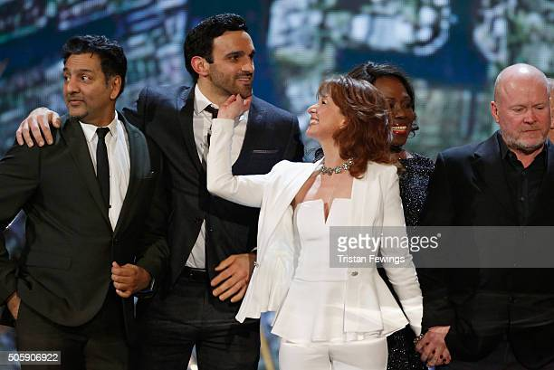 Nitin Ganatra Davood Ghadami Bonnie Langford Ellen Thomas and Steve McFadden on stage at the 21st National Television Awards at The O2 Arena on...