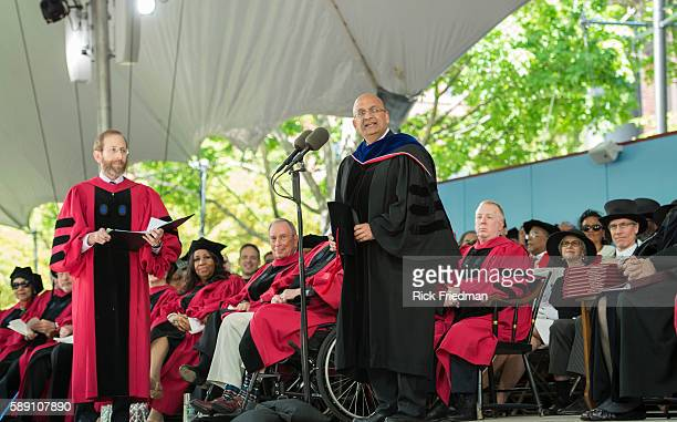 Nitin Nohri Dean of the Harvard Business School and Alan Garber Provost of Harvard University at the Harvard University Graduation Ceremony on the...