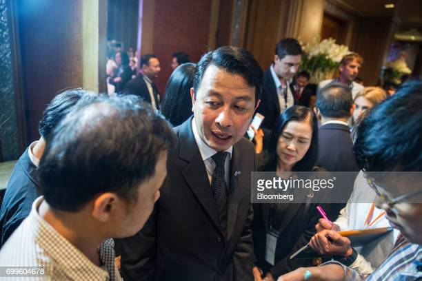Nitinai Sirismatthakarn president of Airports of Thailand Plc speaks with members of the media during the Thailand's Big Strategic Move forum in...