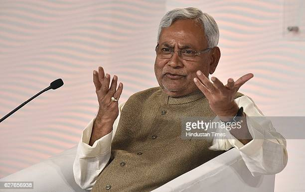 Nitish Kumar Chief Minister of Bihar in conversation with Barkha Dutt Consulting Editor NDTV during the Hindustan Times Leadership Summit 2016 at Taj...