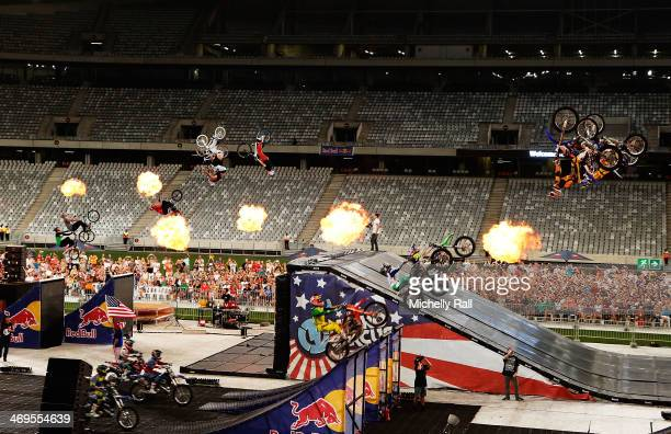Nitro Circus Live perform their extreme record breaking stunts including freestyle FMX BMX and skateboarding at the Cape Town Stadium on February 15...