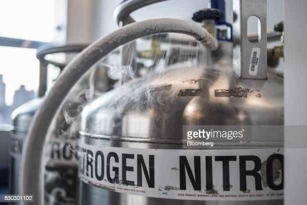 Nitrogen tanks stand in an Alexandria LaunchLabs laboratory at the Alexandria Center For Life Science in New York US on Thursday Aug 3 2017...