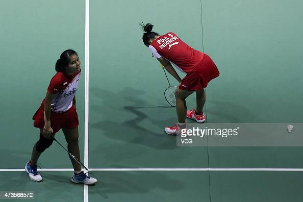 Nitya Krishinda Maheswari and Greysia Polii of Indonesia react during Women's Doubles match against Tang Yuanting and Yu Yang of China in the...