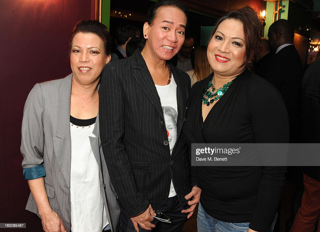 Nitz Manalali, Chiqui Diokno and Angela Libas attend an after party following the 'Paper Dolls' press night at Tricycle Theatre on March 6, 2013 in London, England.