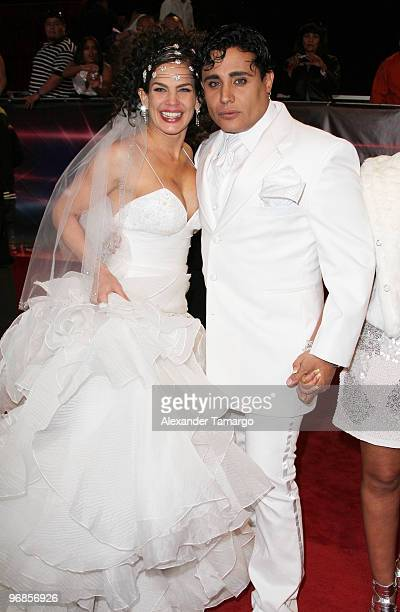Niurka Marcos and Eduardo Antonio arrive at Univisions 2010 Premio Lo Nuestro a La Musica Latina Awards at American Airlines Arena on February 18...