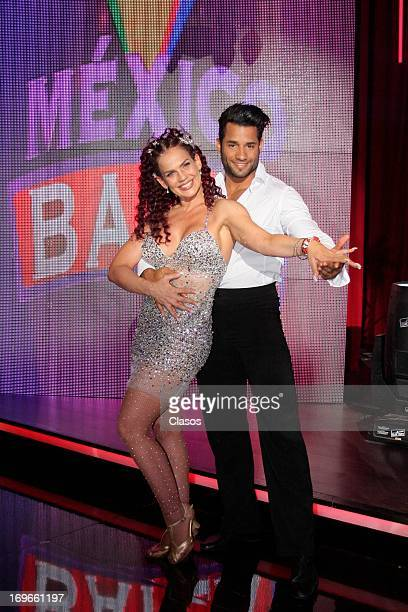 Niurka Marcos and Juventino pose fot a photo during the presentation of Mexico Baila at Tv Azteca on May 29 2013 in Mexico City Mexico