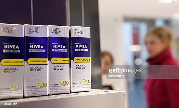 Nivea men's eye cream is seen on display in a Beiersdorf AG