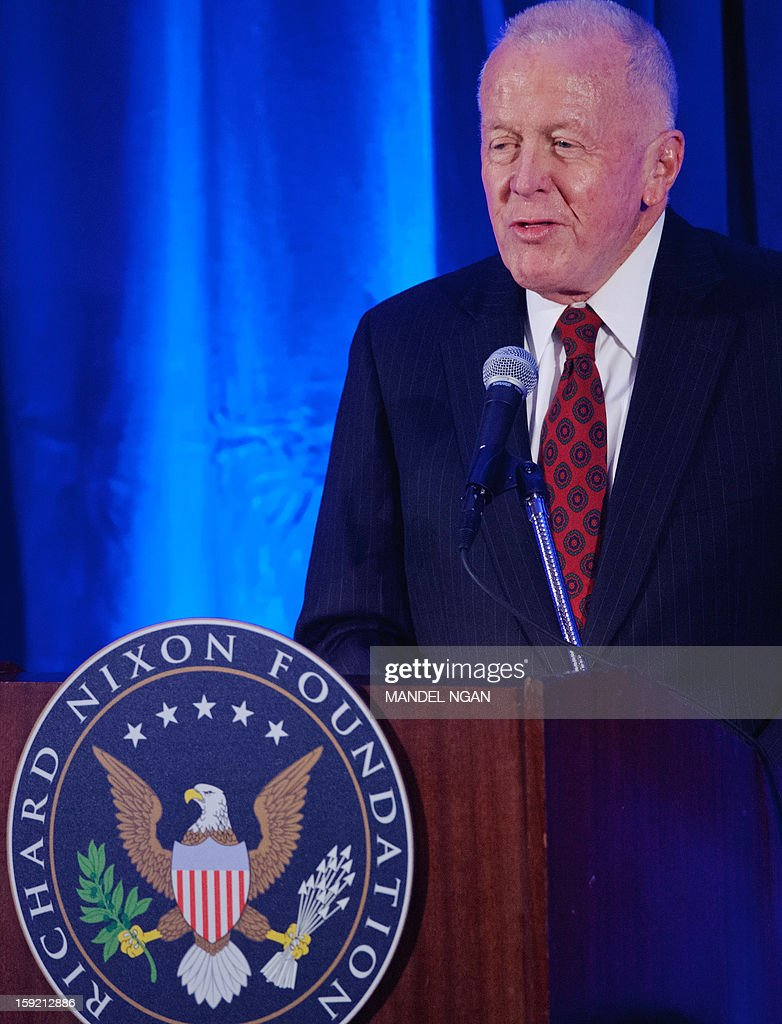 Nixon Foundation Chairman of the Board Ronald Walker speaks during a celebration on the 100th birthday of former US president Richard Nixon on January 9, 2013 at a hotel in Washington, DC. AFP PHOTO/Mandel NGAN