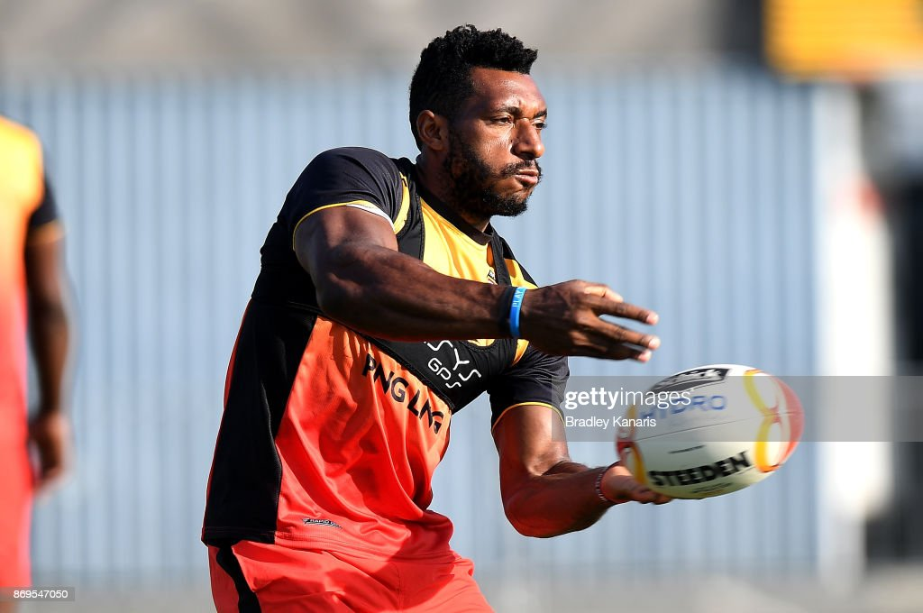 Nixon Put passes the ball during a Papua New Guinea Kumuls Rugby League World Cup training session at the Oil Search National Football Stadium on November 3, 2017 in Port Moresby, Papua New Guinea.