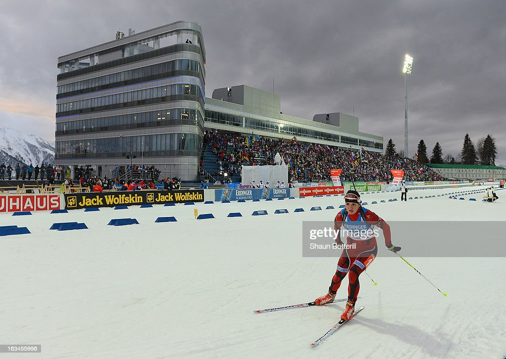 Niya Dimitrova of Bulgaria competes in the Women's 4x6km Relay event at theBiathlon & Ski Complex on March 10, 2013 in Sochi, Russia.