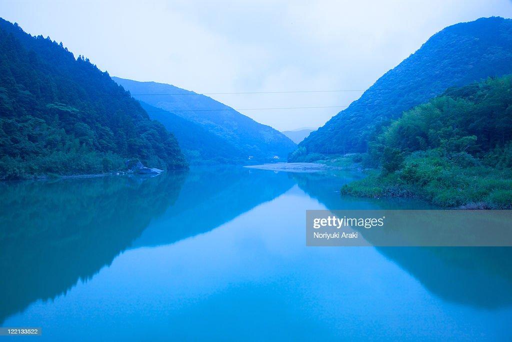 Niyodo river and sunset,