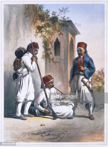 Nizamior regular troops of the Turkish army at Kanka Egypt 1848 Illustration from The Valley of the Nile by Emile Prisse d'Avennes Artist Mouilleron
