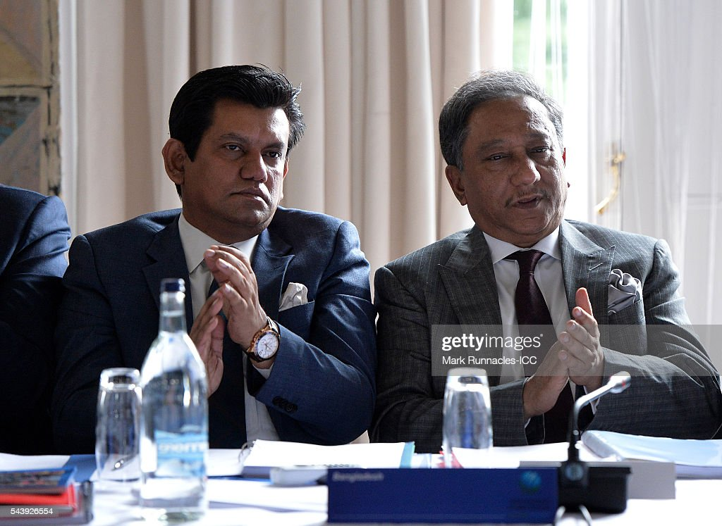 Nizamuddin Chowdhury (L), and Nazmul Hassan of Bangladesh during the ICC Full Council meeting at The Waldorf Astoria, The Caledonian on June 30, 2016 in Edinburgh, Scotland.