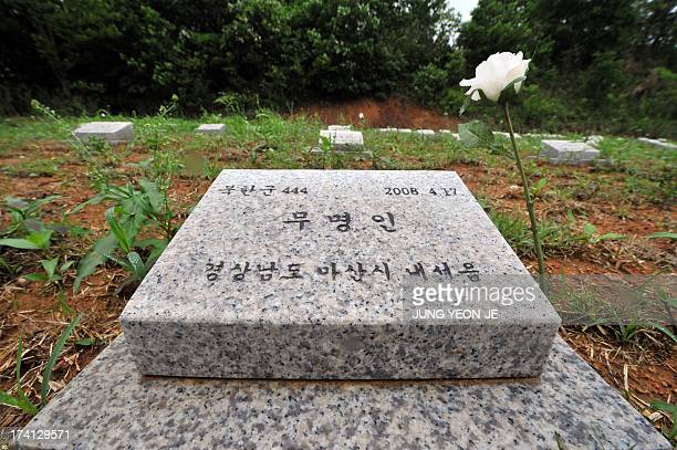 NKoreaSKoreaanniversarywarhistorycemeteryFEATURE by LIM ChangWon This picture taken on May 29 2013 shows a tombstone for a North Korean soldier who...