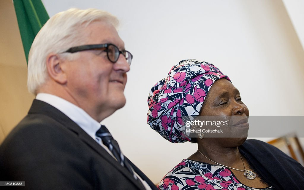 <a gi-track='captionPersonalityLinkClicked' href=/galleries/search?phrase=Nkosazana+Dlamini-Zuma&family=editorial&specificpeople=752696 ng-click='$event.stopPropagation()'>Nkosazana Dlamini-Zuma</a>, Head of African Union and German Foreign Minister <a gi-track='captionPersonalityLinkClicked' href=/galleries/search?phrase=Frank-Walter+Steinmeier&family=editorial&specificpeople=603500 ng-click='$event.stopPropagation()'>Frank-Walter Steinmeier</a> (L) meet on March 24, 2014 in Addis Abeba, Ehiopia. Steinmeier visits Ethiopia, Tanzania and Angola during his trip to Africa.