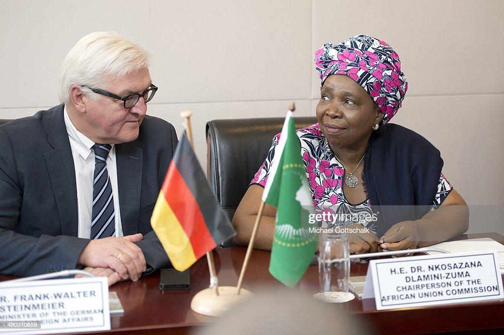 Nkosazana Dlamini-Zuma, Head of African Union and German Foreign Minister Frank-Walter Steinmeier (L) meet on March 24, 2014 in Addis Abeba, Ehiopia. Steinmeier visits Ethiopia, Tanzania and Angola during his trip to Africa.