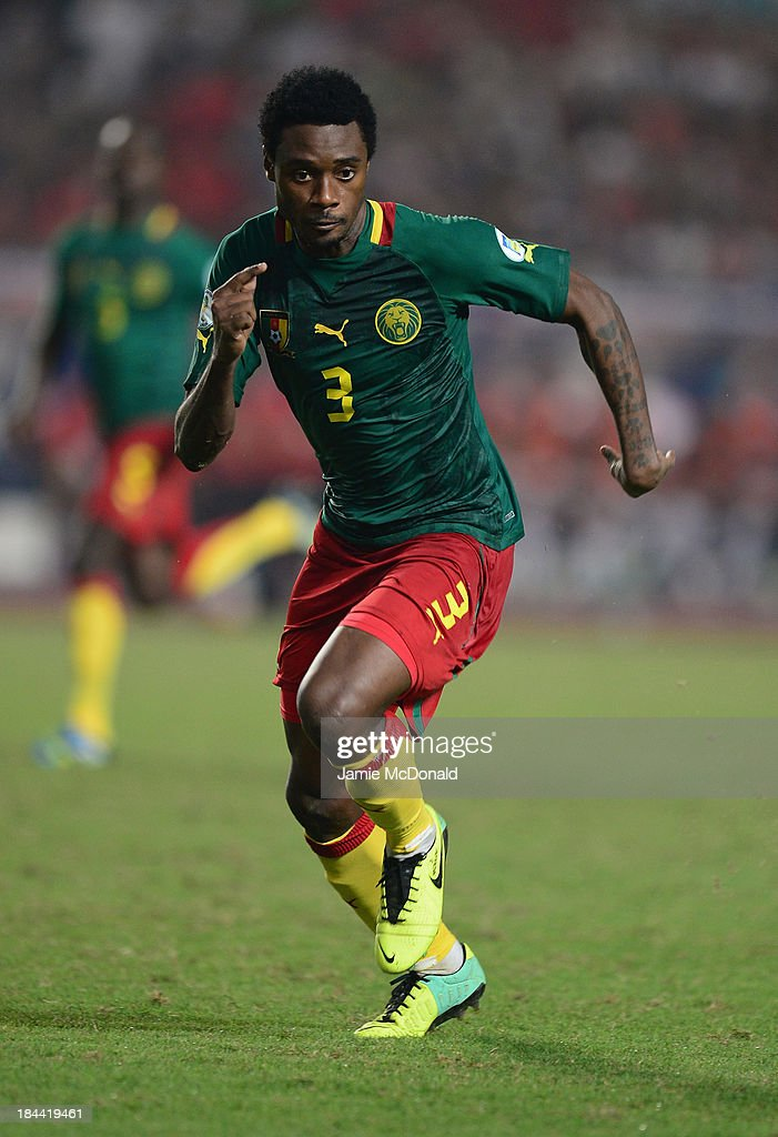 Nkoulou Ndoubena of Cameroon in action during the FIFA 2014 World Cup qualifier at the Stade Olympique de Radès on October 13, 2013 in Rades, Tunisia.