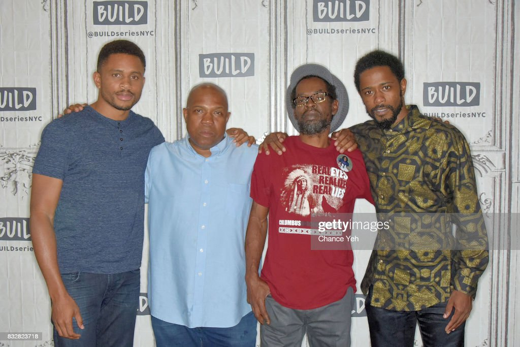 Nnamdi Asomugha, Carl King, Colin Warner and Lakeith Stanfield attend Build series to discuss 'Crown Heights' at Build Studio on August 16, 2017 in New York City.