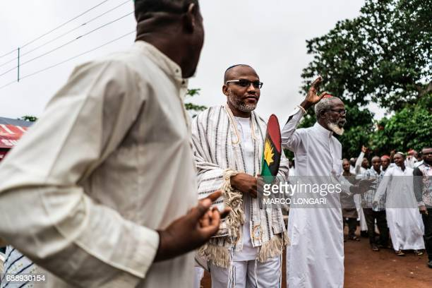 Nnamdi Kanu joins supporters of the Indigenous People of Biafra members of the Yahveh Yashua Synagogue celebrating Shabbat outside his residence in...