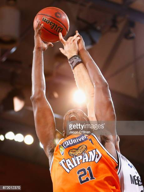 Nnanna Egwu of the Taipans in action during the round six NBL match between the Cairns Taipans and Melbourne United at Cairns Convention Centre on...