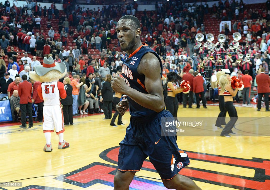 Nnannu Egwu #32 of the Illinois Fighting Illini celebrates the team's 61-59 victory over the UNLV Rebels at the Thomas & Mack Center on November 26, 2013 in Las Vegas, Nevada.