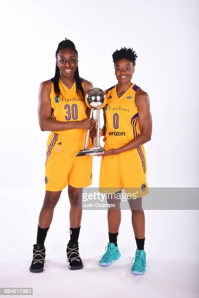 Nneka Ogwumike and Alana Beard of the Los Angeles Sparks poses with the trophy during Media Day at the Los Angeles Athletic Club on May 16 2017 in...