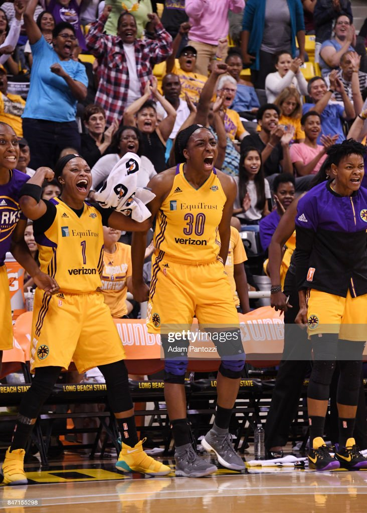 Nneka Ogwumike #30 and Odyssey Sims #1 of the Los Angeles Sparks react to a play against the Phoenix Mercury in Game Two of the Semifinals during the 2017 WNBA Playoffs on September 14, 2017 at the Walter Pyramid, Long Beach State University in Long Beach, California.