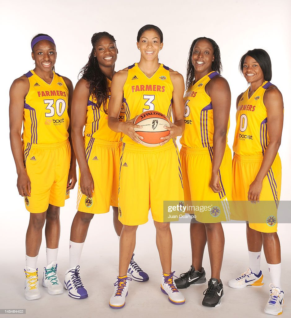 Nneka Ogwumike Nicky Anosike Candace Parker#3 Ebony Hoffman and Alana Beard of the Los Angeles Sparks poses for a portrait during media day at Los...