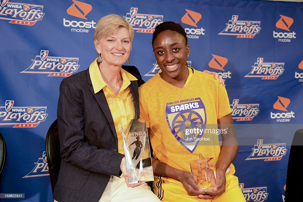 Nneka Ogwumike of the Los Angeles Sparks and head coach Carol Ross pose with their awards for Rookie of the Year and Coach of the Year prior to Game 2 of the WNBA Western Conference Finals against the Minnesota Lynx at Staples Center on October 7, 2012 in Los Angeles, California.