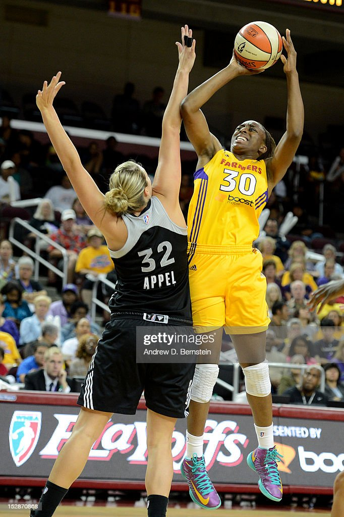 Nneka Ogwumike #30 of the Los Angeles Sparks attempts a shot during Game 1 of the WNBA Western Conference Semi Finals against the San Antonio Stars at Galen Center on September 27, 2012 in Los Angeles, California.