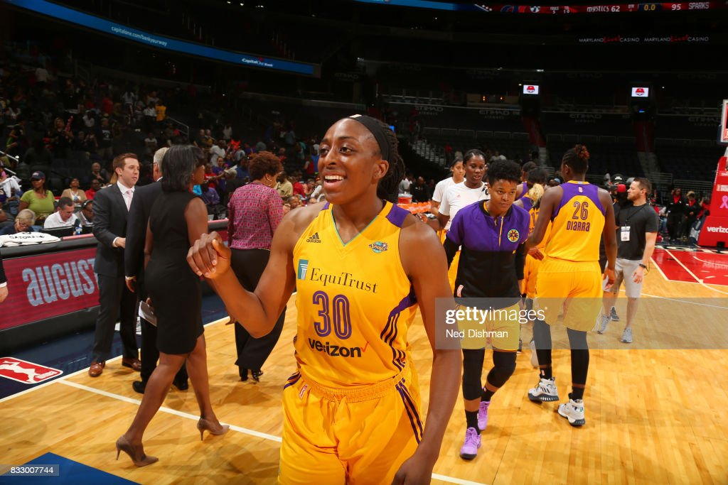 Nneka Ogwumike #30 of the Los Angeles Sparks celebrates a win against the Washington Mystics on August 16, 2017 at the Verizon Center in Washington, DC.