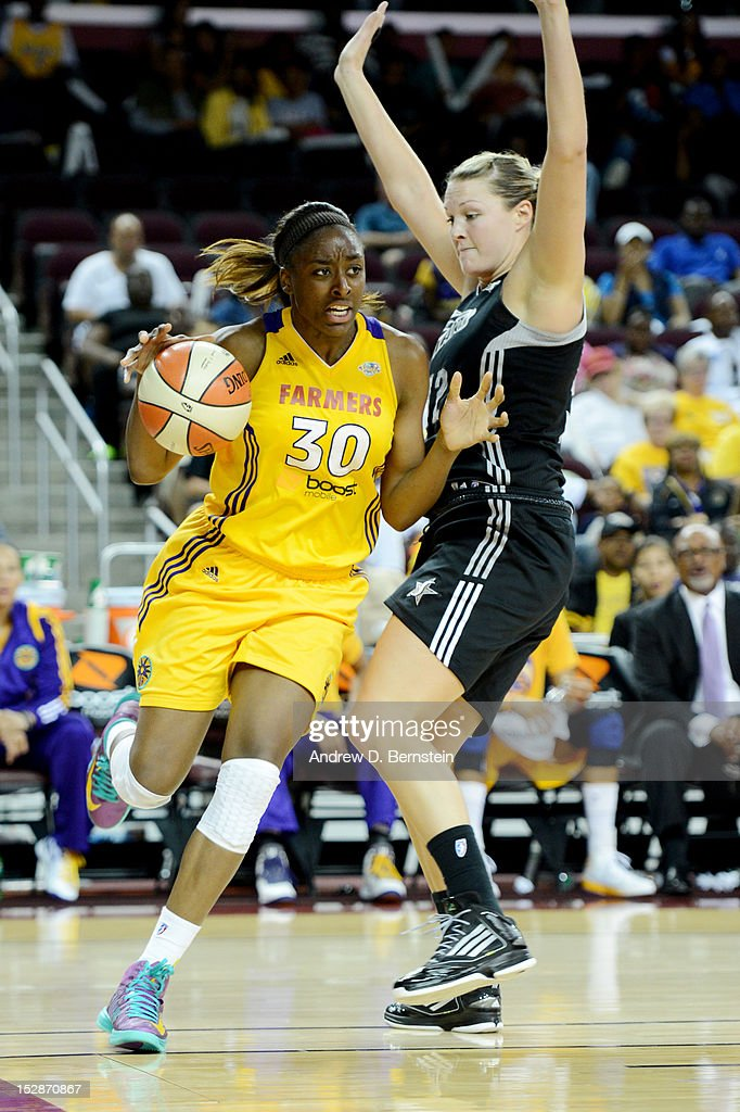 Nneka Ogwumike #30 of the Los Angeles Sparks drives to the basket during Game 1 of the WNBA Western Conference Semi Finals against the San Antonio Stars at Galen Center on September 27, 2012 in Los Angeles, California.