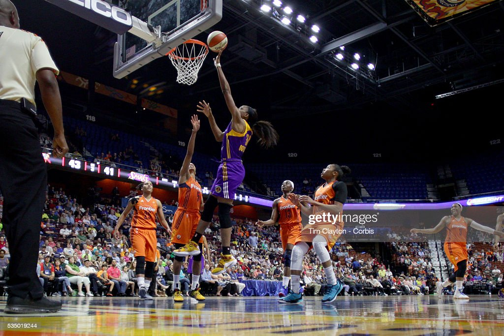 Nneka Ogwumike #30 of the Los Angeles Sparks drives to the basket for two points during the Los Angeles Sparks Vs Connecticut Sun, WNBA regular season game at Mohegan Sun Arena on May 26, 2016 in Uncasville, Connecticut.