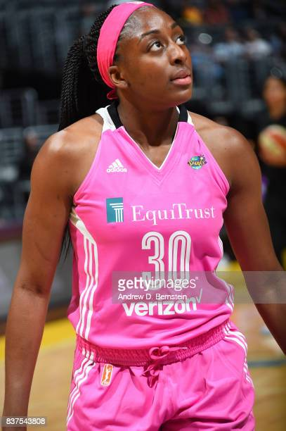 Nneka Ogwumike of the Los Angeles Sparks gets introduced before the game against the San Antonio Stars on August 22 2017 at the STAPLES Center in Los...